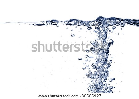 fresh and clean water with gas bubbles background