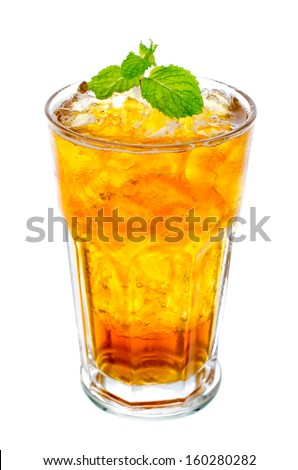 Fresh and cold ice tea with  mint isolated on white - stock photo
