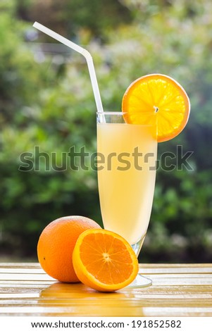 Fresh and colorful orange juice in a glass - stock photo