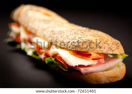 Fresh and Delicious Baguette Sandwich - stock photo