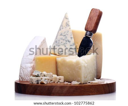 Fresh and delicious cheese on the table - stock photo