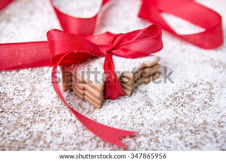 fresh and delicious gingerbread cookies with christmas ornaments - stock photo