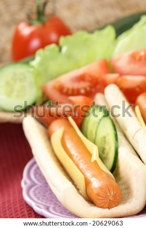 fresh and delicious hot dog with vegetables - stock photo