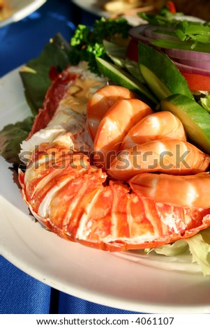 Fresh and delicious seafood meal at Watson Bay, NSW, Australia - stock photo