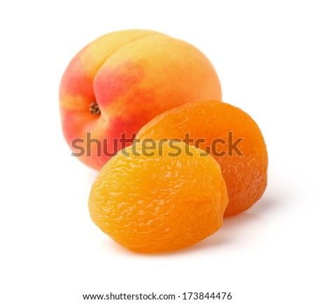 Fresh and dried apricots in closeup