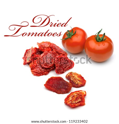 Fresh and dried tomatoes on white background - stock photo