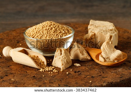 fresh and dried yeast on brown wooden kitchen board