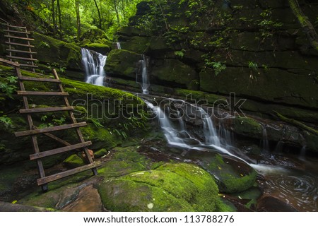 fresh and green water fall. - stock photo