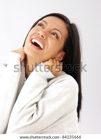 fresh and happy latin woman portrait - stock photo
