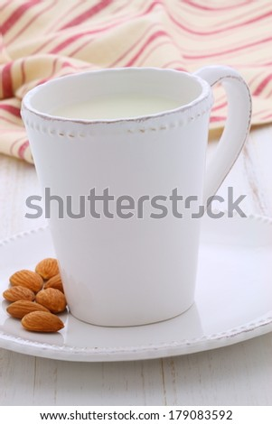 fresh and healthy cup of almonds milk, made with organic almonds