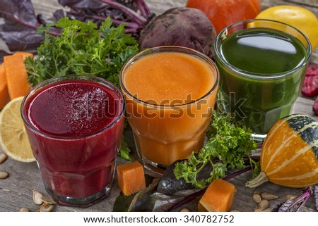 Fresh and healthy smoothie and juice. Mix fruits and vegetables - stock photo