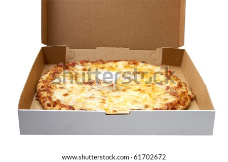Fresh and hot Cheese Pizza in the delivery box on white background - stock photo