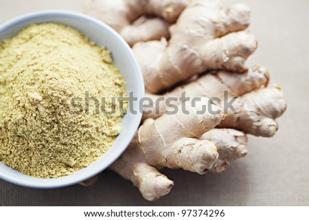 fresh and raw ginger - herbs and spices /shallow DOFF/ - stock photo