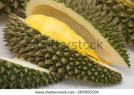 Fresh and ripe Durian, king of fruits. - stock photo