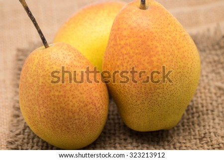 Fresh and ripe red yellow pear fruits on brown sackcloth for nature background - stock photo