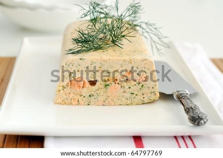 Fresh and smoked salmon terrine garnish with dill - stock photo