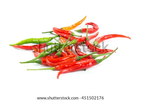 Fresh and spicy red chili peppers on white background.