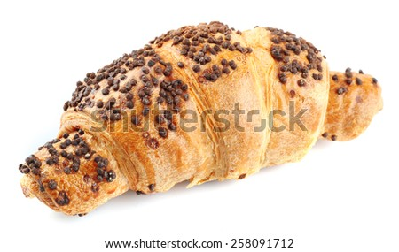 Fresh and tasty croissant with chocolate, isolated on white - stock photo