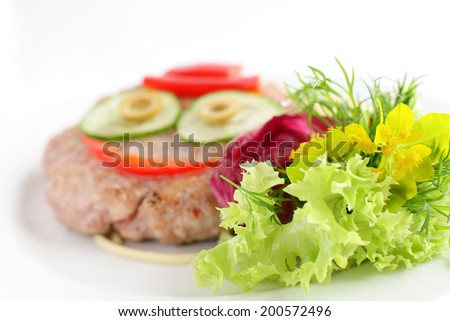 fresh and tasty meat on bright background
