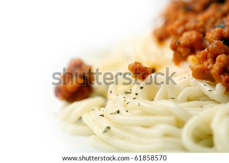 Fresh and tasty pasta with meal on white - stock photo