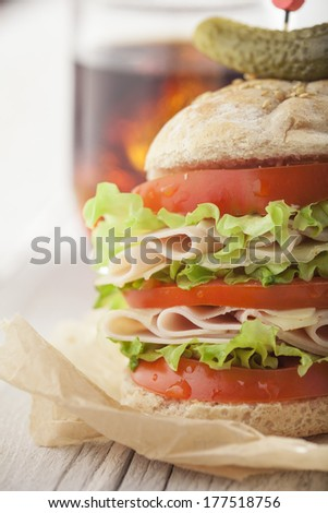 Fresh and tasty sandwich with ham, tomato and lettuce - stock photo