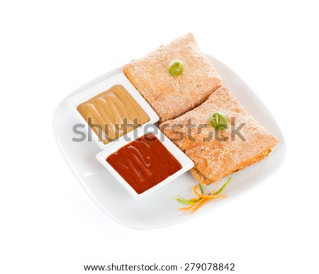 Fresh and tasty sandwiches made of whole grain tomato sauce and mustard. - stock photo