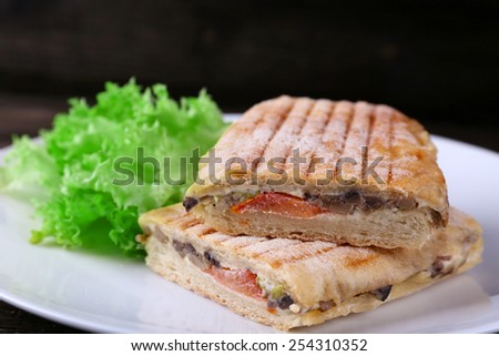 Fresh and tasty sandwiches with lettuce on plate on wooden background - stock photo