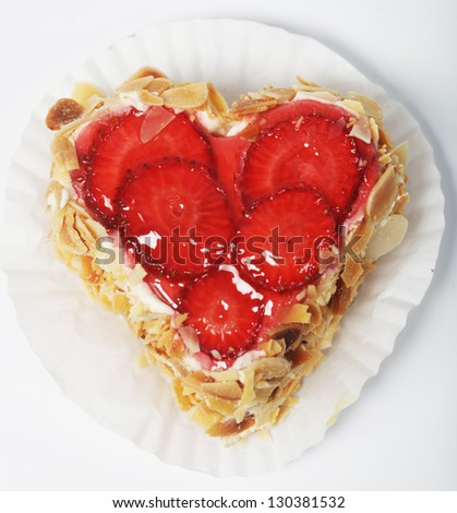 Fresh and tasty strawberry cake - stock photo