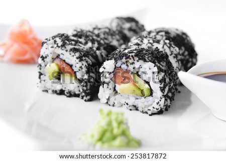 fresh and tasty traditional Japanese sushi - stock photo