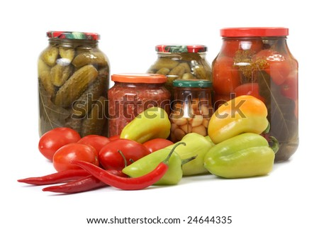 Fresh and tinned vegetables - stock photo