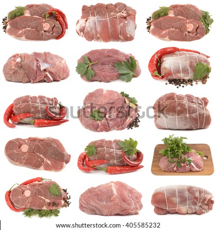 fresh and wholesome mutton on a white background