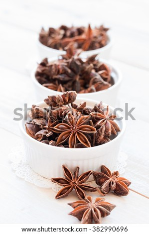 Fresh anise-star, nature spice background - stock photo