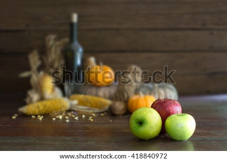 Fresh apple and pile sere fruits / Blur and selective focus