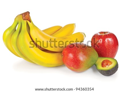 Fresh apple, avocado, mango and bunch of bananas on a white background - stock photo