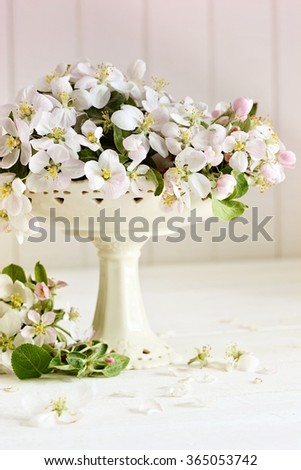 Fresh apple blossoms on white table - stock photo