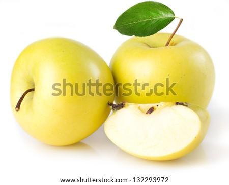 fresh apple isolated on white background - stock photo