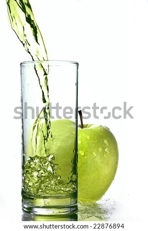 fresh apple juice in glass with green apple isolated on white - stock photo