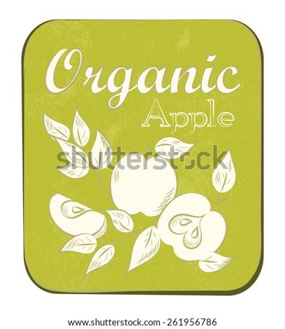 Fresh Apple Orange Label. Vector illustration. Retro fruit design. Old paper texture background. - stock photo