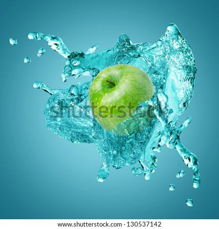 fresh apple water splash - stock photo