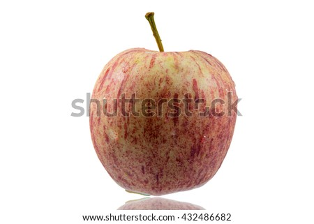 Fresh apple with drop water on white background,shadow - stock photo