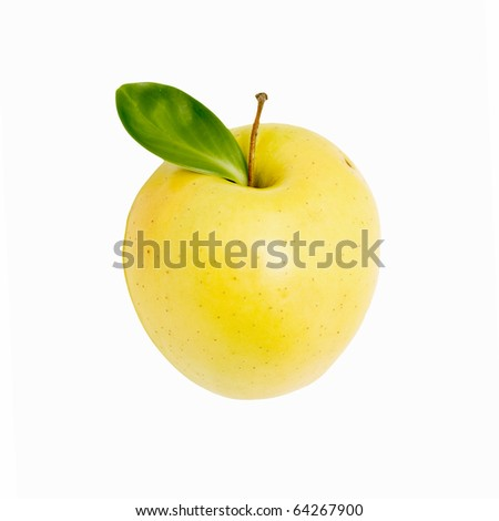 fresh  apple with leaf isolated on white - stock photo