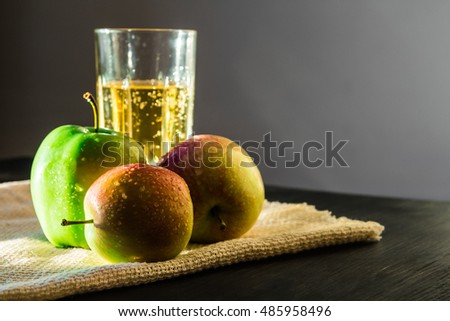 fresh apples and apple wine drink in beautiful sunshine