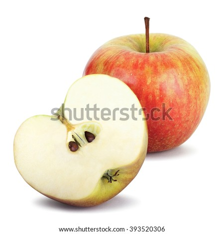 Fresh apples and half of apple Isolated on a white background. Cliping path - stock photo
