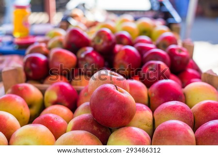 fresh apples in a market - stock photo