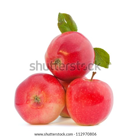 fresh apples (isolated on white) - stock photo