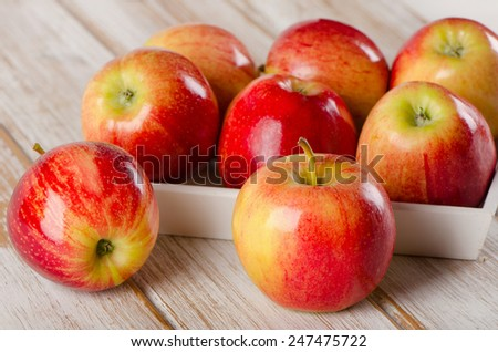 Fresh apples  on a wooden table. Selective focus - stock photo
