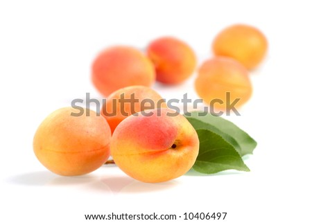 Fresh apricots - isolated on white - stock photo