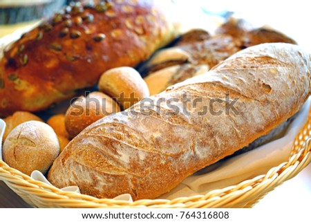 Fresh Artisan Bread In A Basket