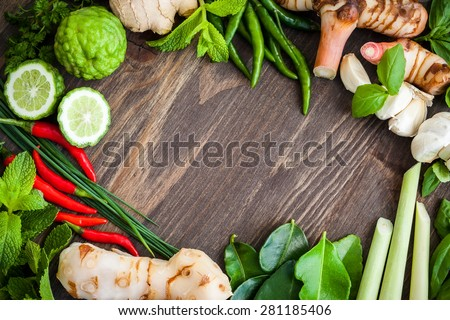 Fresh Asian herb and spicy ingredients food - stock photo