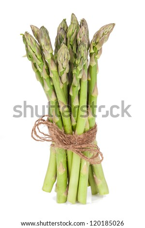 Fresh asparagus bundle isolated on white background. Culinary healthy eating.